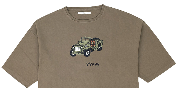 Kuro Dyed Wash Tee Jeep - Khaki 1